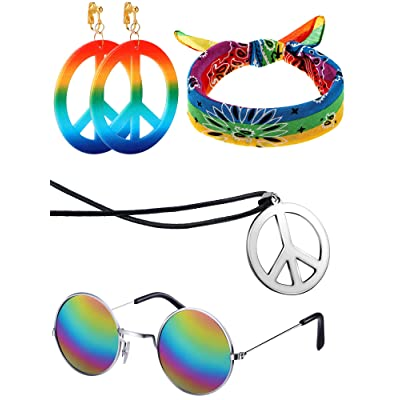 4 Pieces 70s Hippie Accessory Set Hippie Style Peace Sign Earrings Necklace Hippie Glasses Headband for Women Girls: Toys & Games