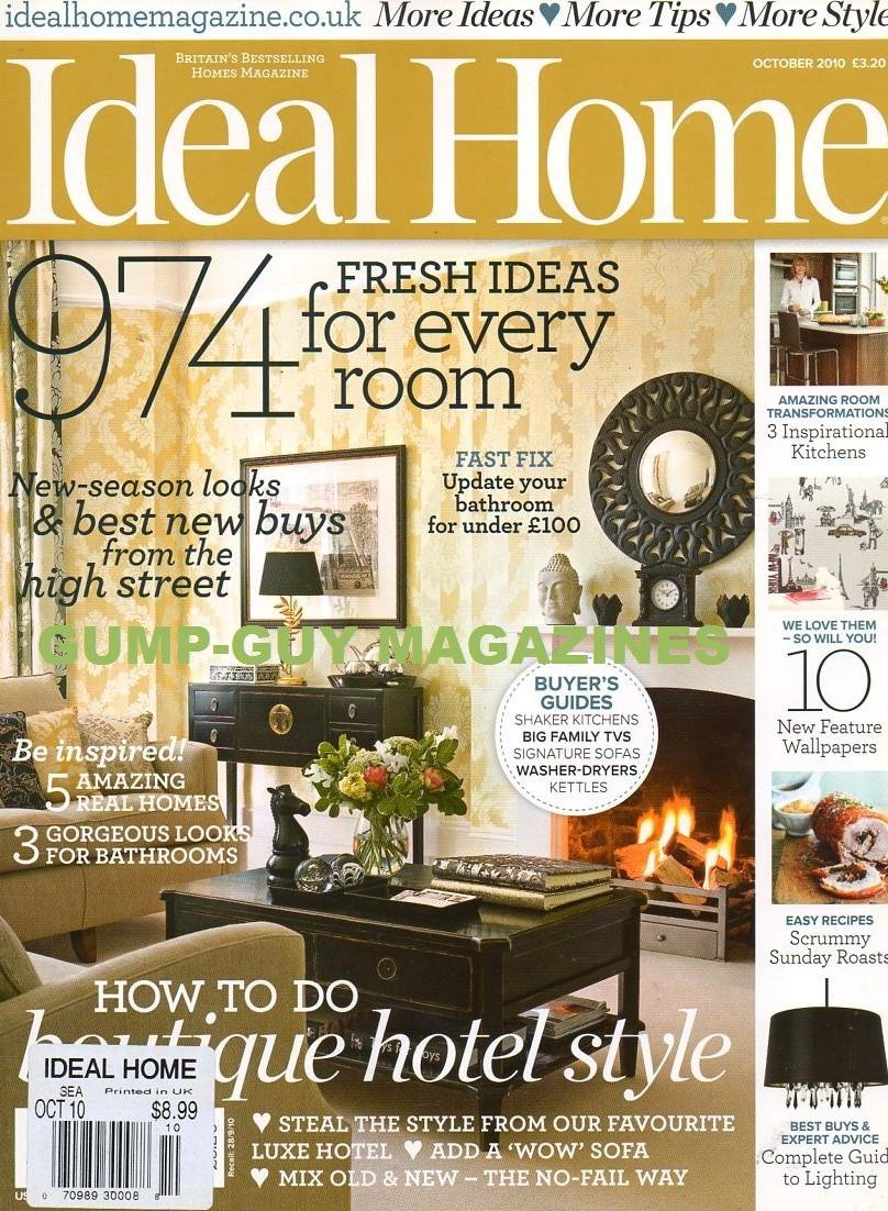 """Download Ideal Home UK October 2010 Magazine HOW TO DO BOUTIQUE HOTEL STYLE Add A """"Wow"""" Sofa BEST BUYS & EXPERT ADVICE: COMPLETE GUIDE TO LIGHTING Gorgeous Looks For Bathrooms PDF"""