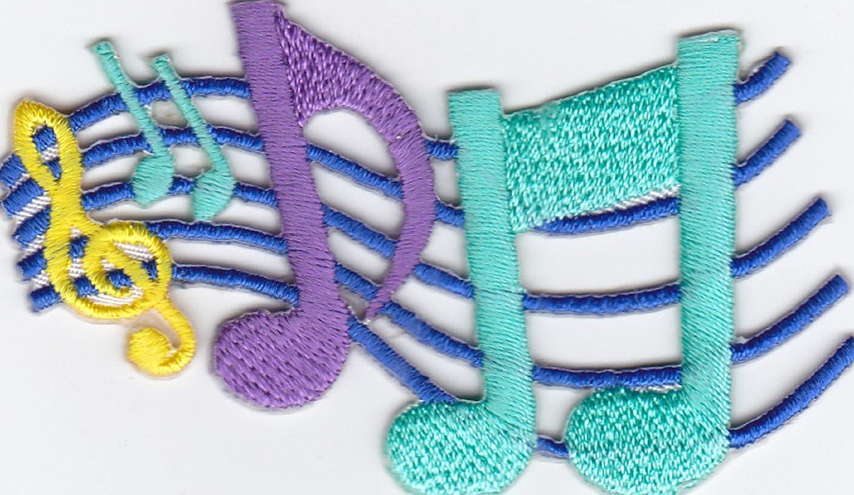 Ecusson brod/é Ecussons Imprim/és Ecussons Thermocollants iron-on Patch feuillet de musique Cl/é Note Musique Composer