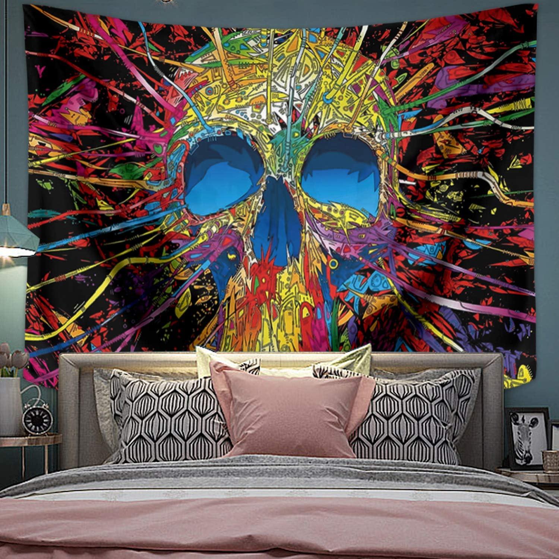 LEMOISTARS Psychedelic Tapestry Trippy Tapestry Fantasy Arabesque Skull Monster Eyes Wall Tapestries for Bedroom Living Room Dorm Decor (Green, 29''*39'')