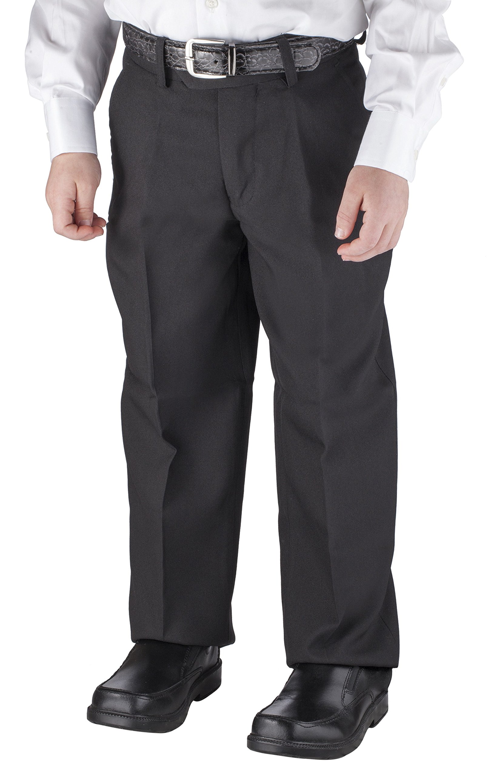 Alberto Cardinali Big Boys Dress Pants Belted Flat Front (16, Black)