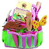 Tierra Garden Ensemble de jardinage«TierraGarden7-lp380LittlePals» pour enfants avec truelle à main, fourche à main, gants, marqueurs de plantes, et seau, rose rose