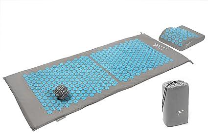 Fitem Kit de acupresión XL - Cojín + Esterilla de acupresión + Bola de masaje - Alivia dolores de Espalda y Cuello - Masaje de espalda - Esterilla: ...