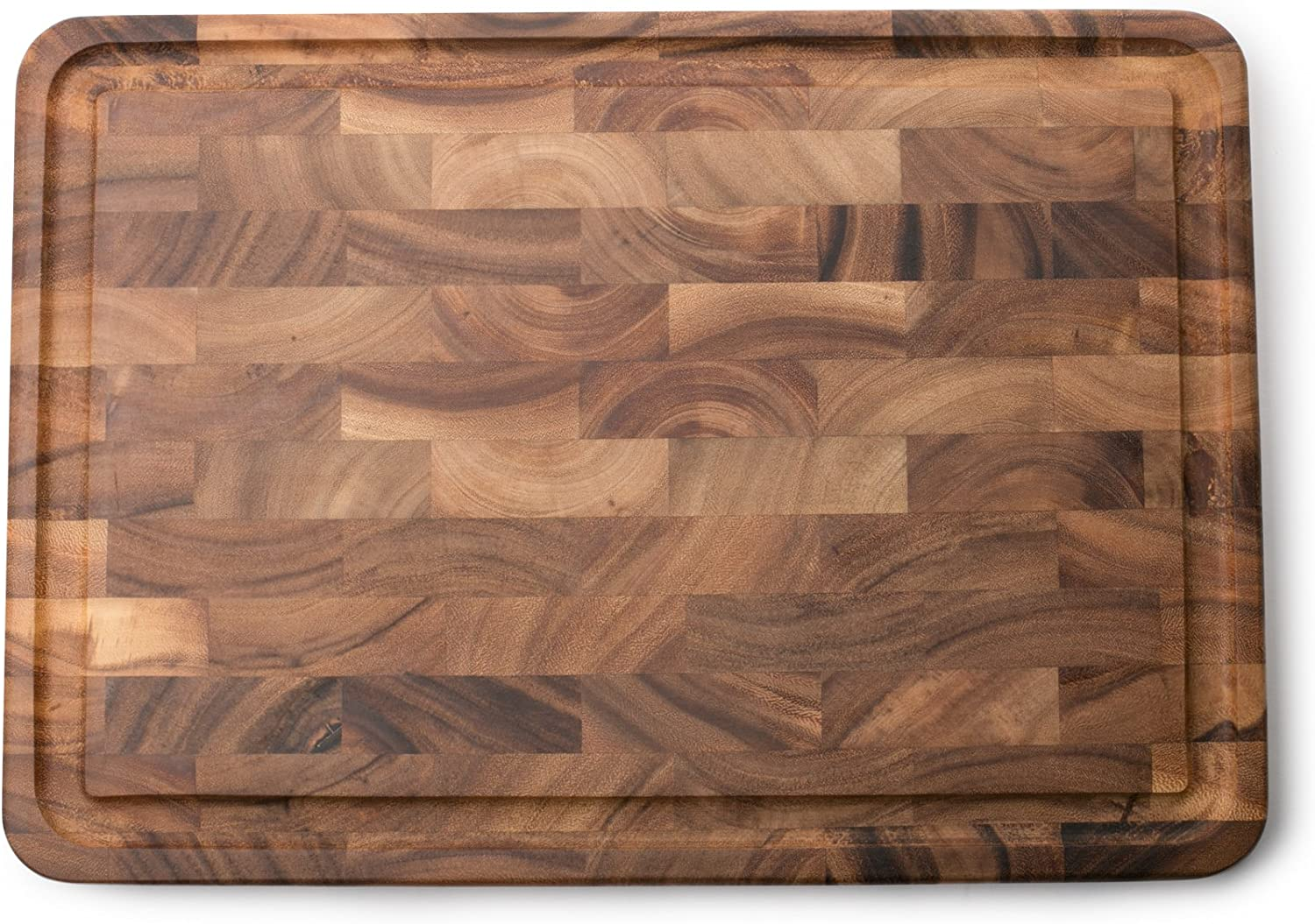Ironwood Gourmet Charleston End Grain Board with Channel, Acacia Wood