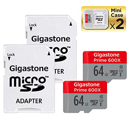 Gigastone Micro SD Card 64GB 2-Pack Micro SDHC U1 C10 with Mini Case and MicroSD to SD Adapter High Speed Memory Card Class 10 UHS-I Full HD Video ...