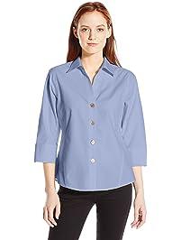 f1a08429 Foxcroft Women's Petite 3/4 Sleeve Paige Non Iron Shirt