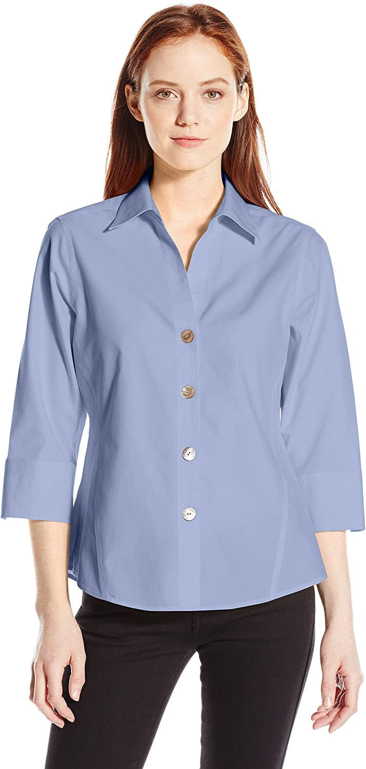 Foxcroft Women's Petite 3/4 Sleeve Paige Non Iron Shirt: Clothing