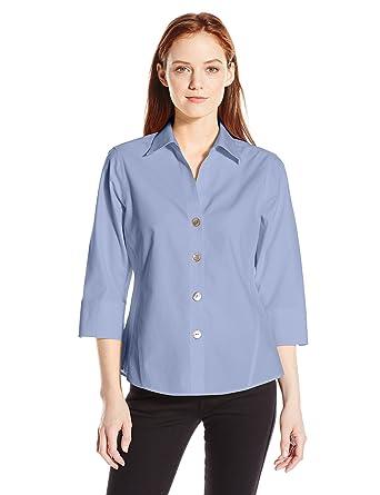 11d45fe8 Foxcroft Women's Petite Size 3/4 Sleeve Paige Non Iron Shirt, Blue Wave,