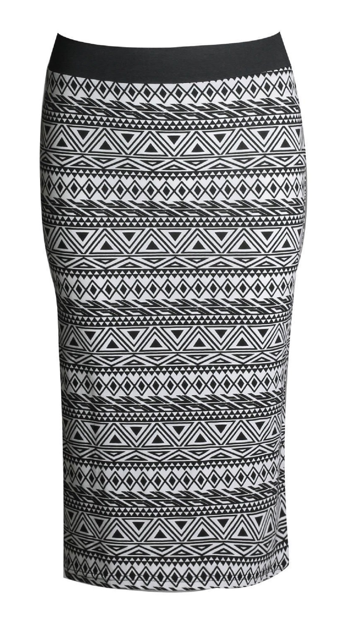 Womens Celebrity Inspired High Waisted Wetlook Bodycon Pencil Skirt (M-L, Small Aztec)
