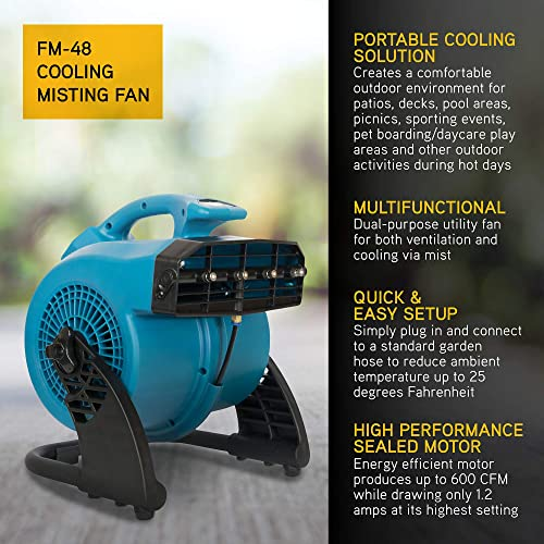 XPOWER FM-48 Heavy Duty 3-Speed Misting and Cooling Utility Fan
