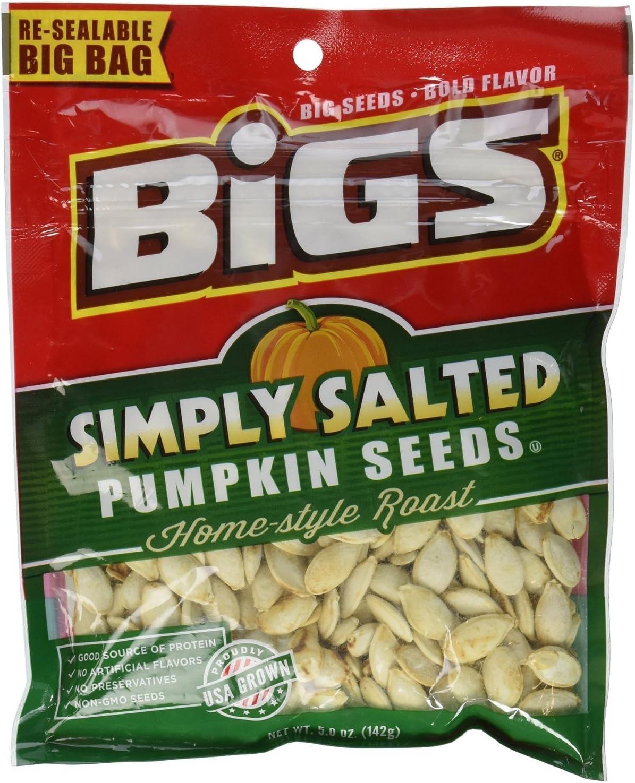 Bigs, Pumpkin Seeds, Home-Style Roast, Lightly Salted, 5oz Bag (Pack of 8)