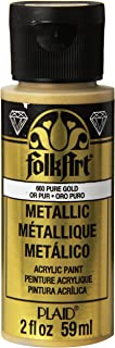 product image for FolkArt Metallic Acrylic Paint in Assorted Colors (2 oz), 660, Pure Gold