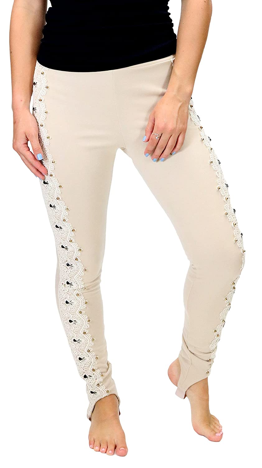 RYU RP9124F4M3 Cream Leggings with Lace Embellished Side Detail