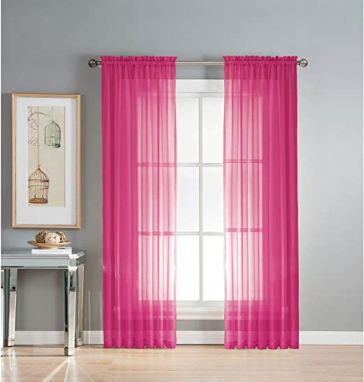 Amazon Com Window Elements Sheer Elegance Rod Pocket 108 X 84 In Curtain Panel Pair Fuchsia Home Kitchen