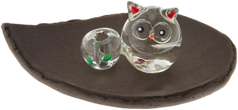 ガラス香立セット フクロウ