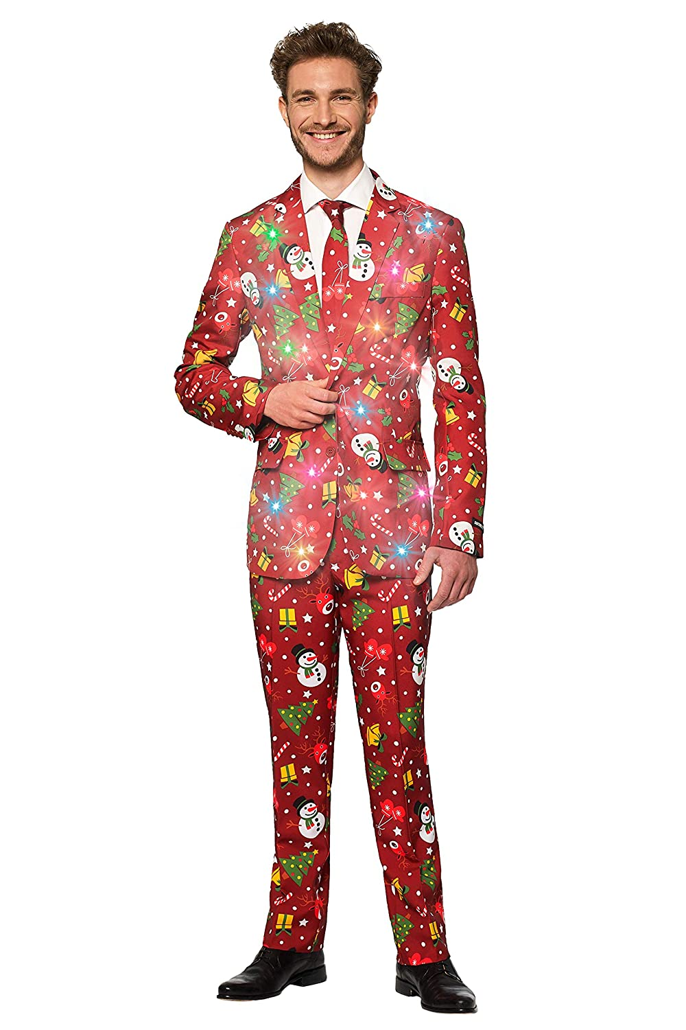 Suitmeister Light-Up Christmas Suits for Men in Different Prints Ugly Xmas Sweater Costumes Include Jacket Pants /& Tie