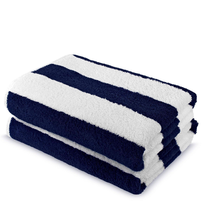 100% Turkish Cotton Super Soft Cabana Stripe Large Pool Beach Towel (Navy Blue, Set of 2) 35in x 65in Turkish Linen