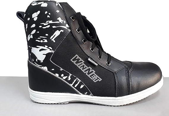 WinNet Stivali stivaletti polacchetti scarpe da moto pelle con protezioni UOMO DONNA