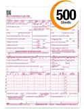 "CMS 1500 Claim Forms ""NEW"" HCFA (Version 02/12) - Health Insurance, Laser Cut Sheet - 500 Sheets"