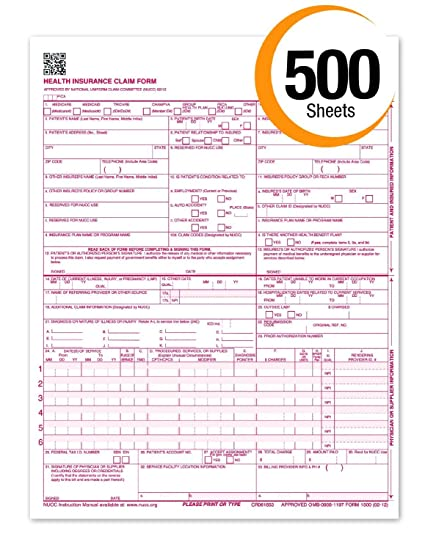 amazon com cms 1500 claim forms new hcfa version 02 12 health
