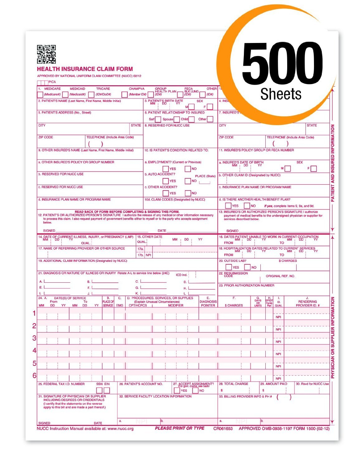 CMS 1500 Claim Forms''NEW'' HCFA (Version 02/12) - Health Insurance, Laser Cut Sheet - 500 Sheets