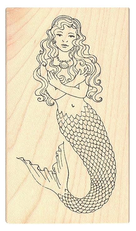 Amazon.com: Rosa sello de tinta encantador sirena sello ...
