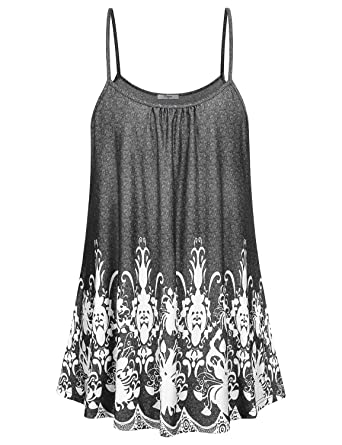 200efac0f9dfb Cestyle Women s Summer Printed Tops Loose Fit Spaghetti Strap ...
