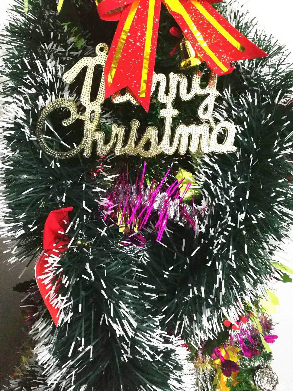 15Pcs x 6.5FT Hanging Tinsel Garland, Classic Christmas Wedding Party Holiday Tinsel Ornaments Christmas Tree Decorations, Dark Green & Bow-knot~1214S
