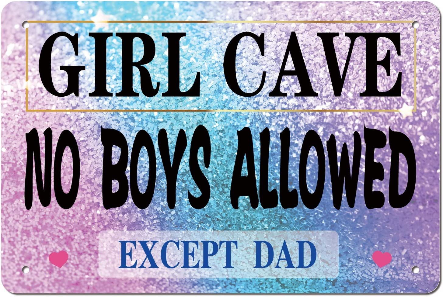 ManruleUS Room Decor for Teen Girls Aesthetic Metal Tin Sign Girl Cave No Boys Allowed 12x8 inches (Girl Cave 3)