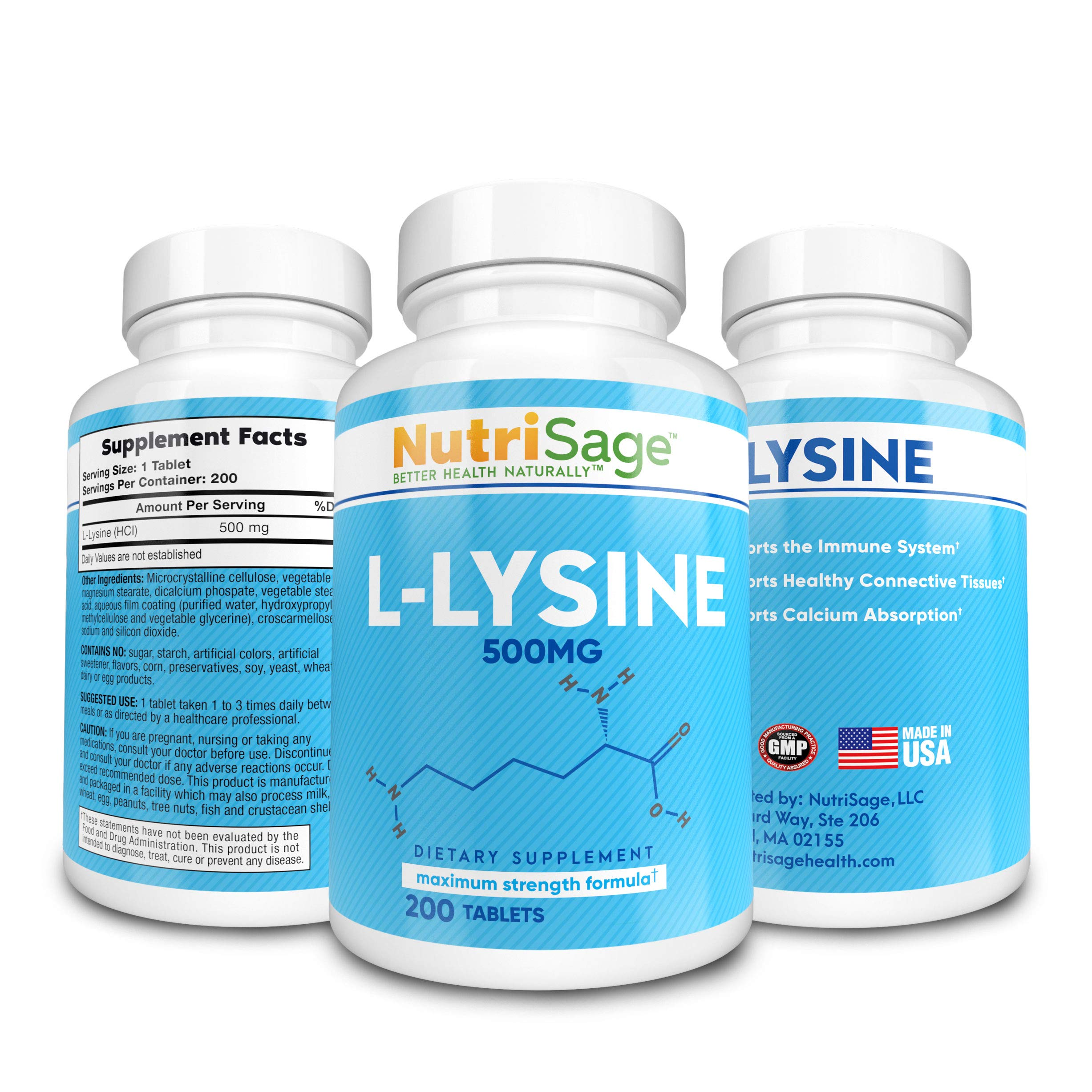 Premium Super L Lysine - 500mg Amino Acid Tablets For Cold Sore Care, Shingles, Immune Support & More - 200 Count Per Bottle by NutriSage