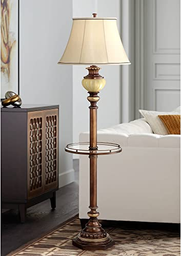 Kathy Ireland 65″ High Night Light Glass Tray Floor Lamp