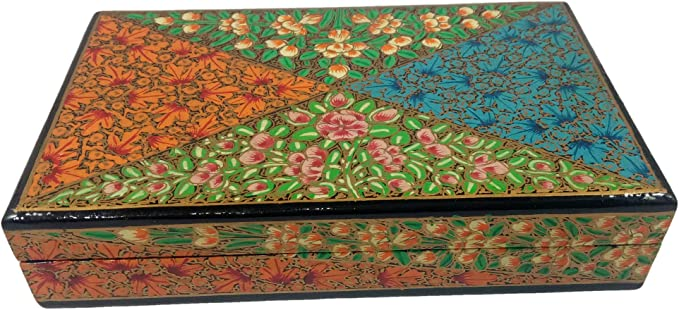 Kashmir India Paper Mache Trinket Boxes Vintage Handmade Papier Mache Floral and Butterfly Jewelry Boxes Ready to Ship Storage Organization