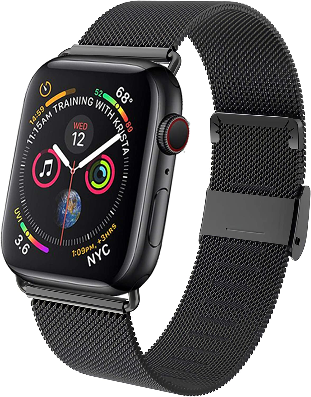 GBPOOT Band Compatible with Apple Watch Band 38mm 40mm 42mm 44mm, Wristband Loop Replacement Band for Iwatch Series 6/SE/5/4/3/2/1,Black,38mm/40mm