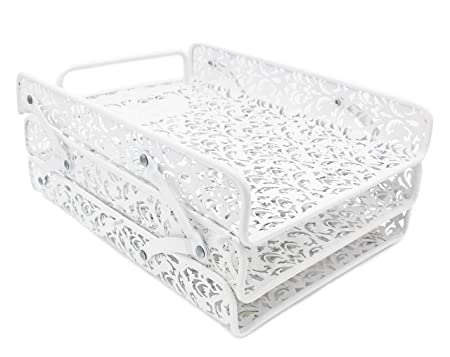 Easy Pag File Organizer Carved Hollow Flower Pattern Design Triple Desk Tray,White by Amazon