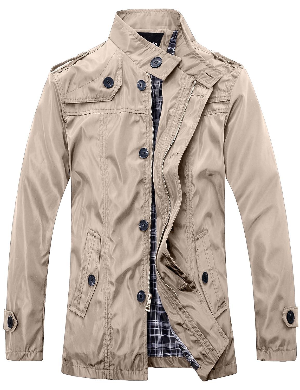 Wantdo Men's Stand Collar Jacket Lightweight Button Front Zip Jacket Small) MensF006KQUSS