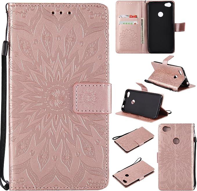 WindTeco Funda Xiaomi Redmi Note 5A / Redmi Note 5A Prime, Emboss Pattern de Girasol Cartera Flip de Piel PU Libro Billetera con Función de Soporte y Ranuras de Tarjeta para Xiaomi
