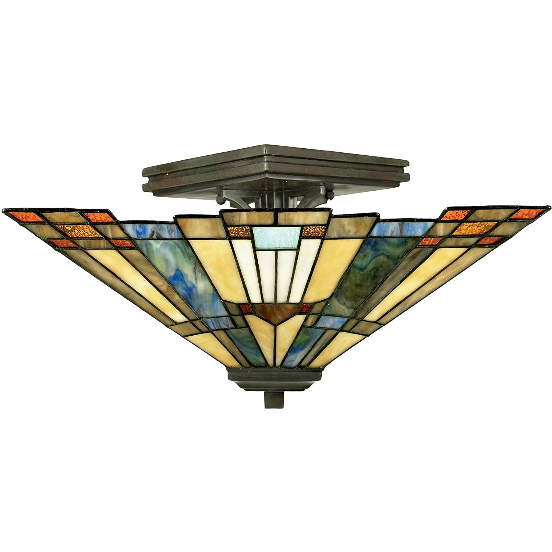 "Quoizel TFIK1714VA Inglenook Tiffany Semi-Flush Ceiling Lighting, 2-Light, 120 Watts, Valiant Bronze (8"" H x 14"" W)"