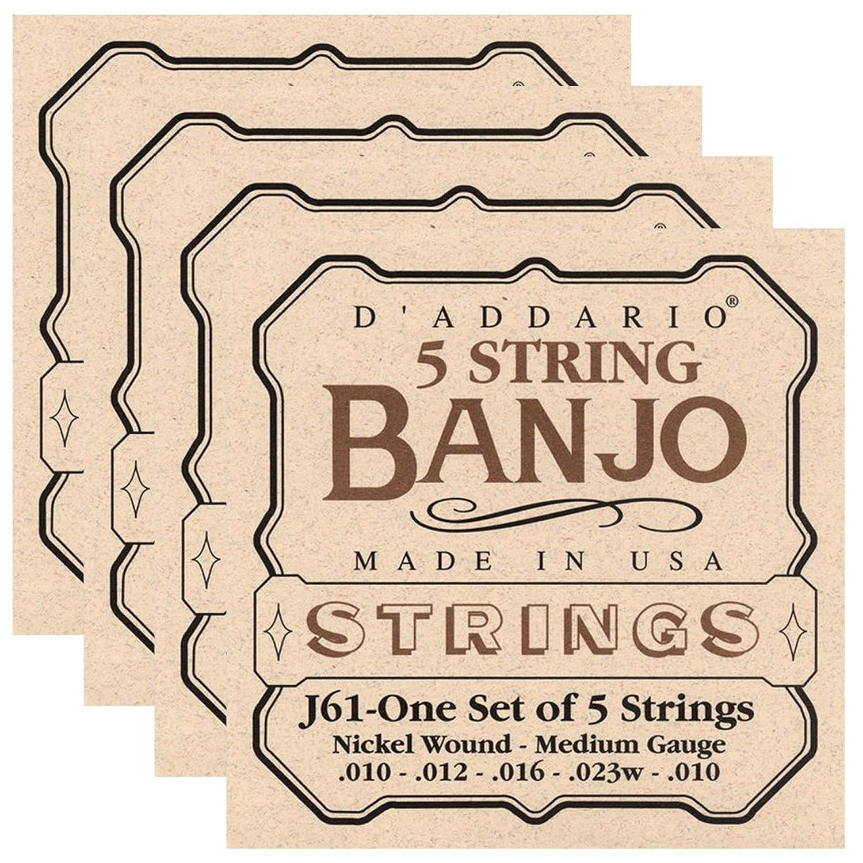 D'Addario J61 Banjo Nickel Wound 10-23 Medium 4 Pack Bundle DAddario.