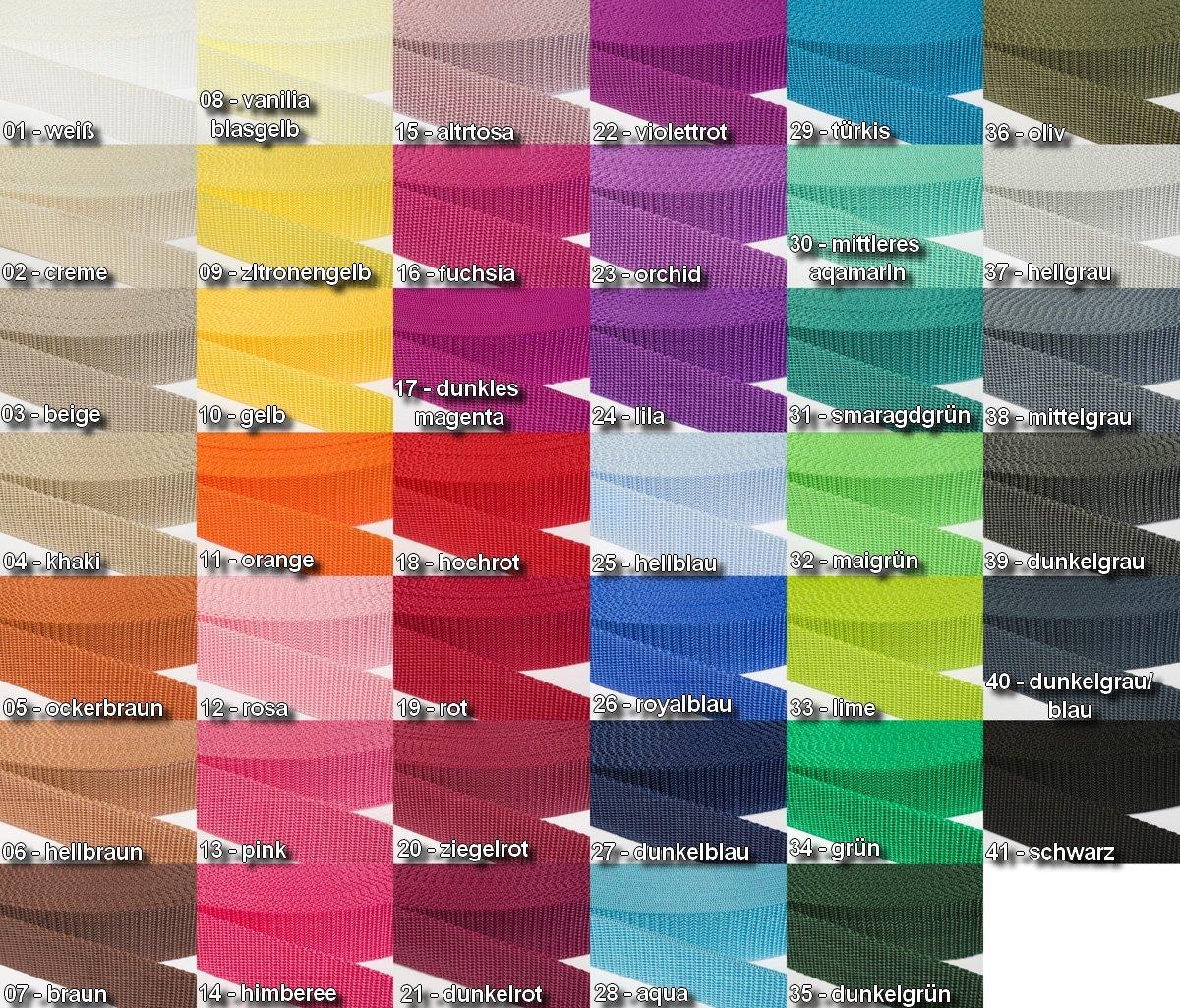 Gurtband Polypropylen, 25mm breit, 6 Meter lang / Farbe: 01 JAJASIO
