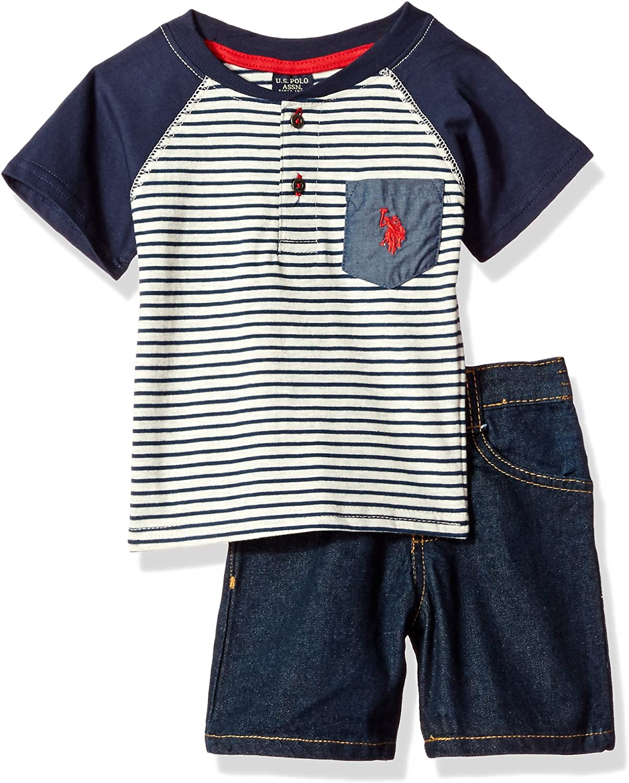 U.S Baby Boys Striped Henley with 5 Pocket Denim Short Polo Assn