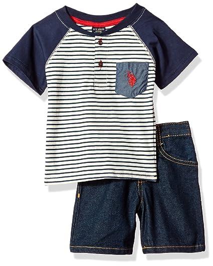 7eca6ac9d Amazon.com  U.S. Polo Assn. Baby Boys  Striped Henley with 5 Pocket ...