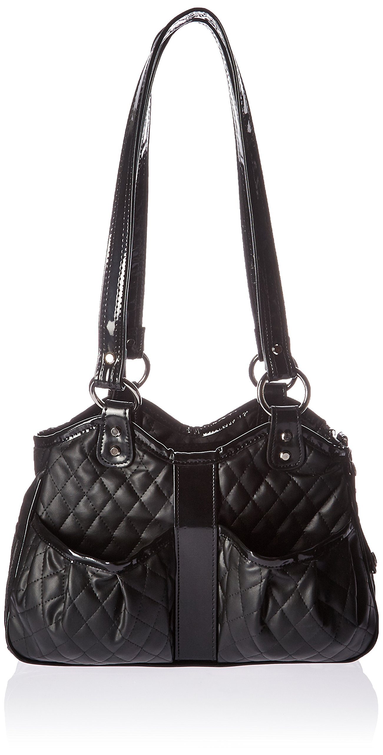 Petote Metro Quilted Luxe Pet Carrier, Petite, Black