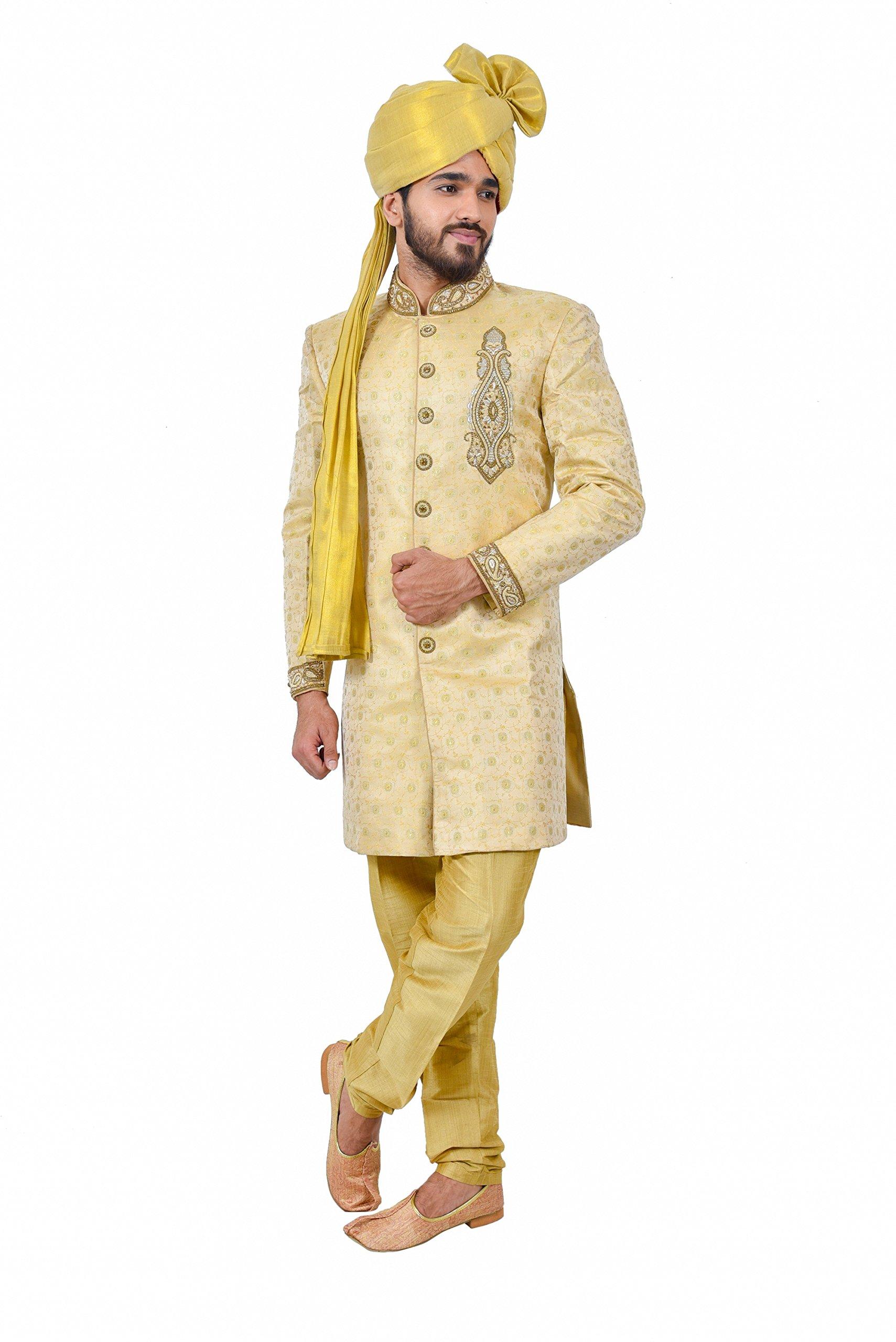 Golden Zari Brocade Silk Traditional Indian Wedding Indo-Western Sherwani for Men by Saris and Things (Image #2)