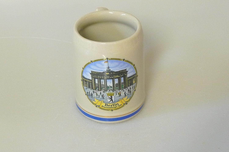 K.S. Bierkrug Jarra de cerveza Baviera de 0,25 l, lisa, gris, diseño de Berlín, cerámica, 8 x 8 x 10 cm