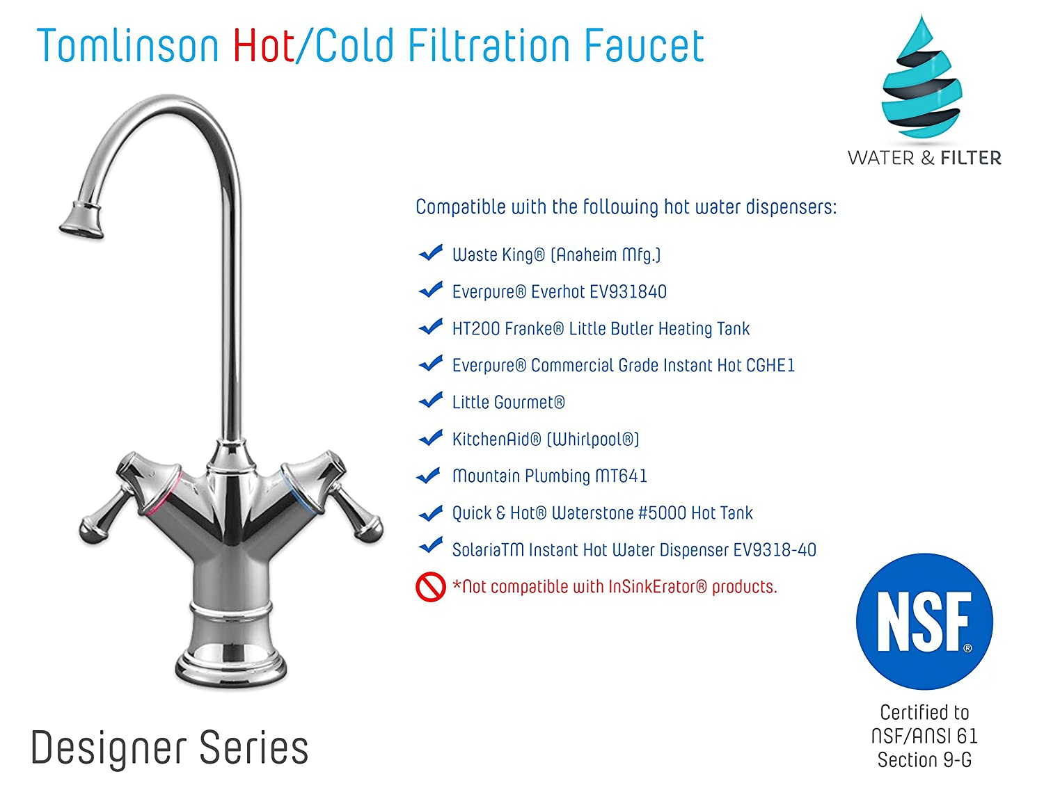 Tomlinson Designer Hot & Cold Dual Handle Faucet for Reverse Osmosis ...