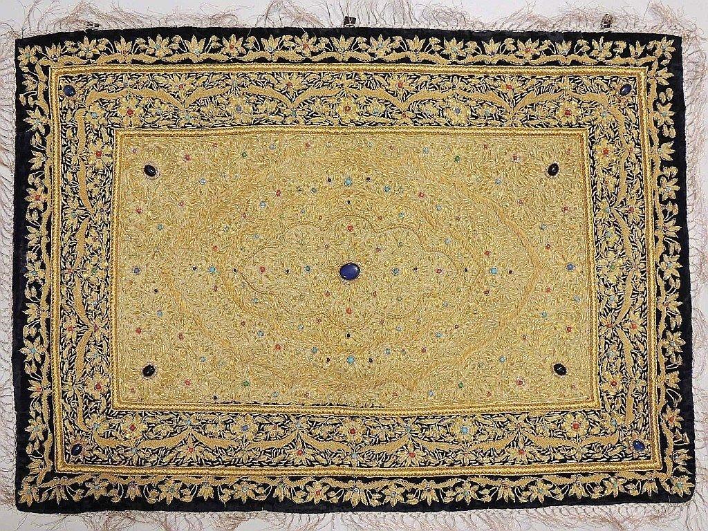 Jewel Carpet Wall Hanging Decoration – Kashmir Gold Zardozi Embroidery and Embellished Semi Precious Stone Work ~ 36 Inch X 24 Inch