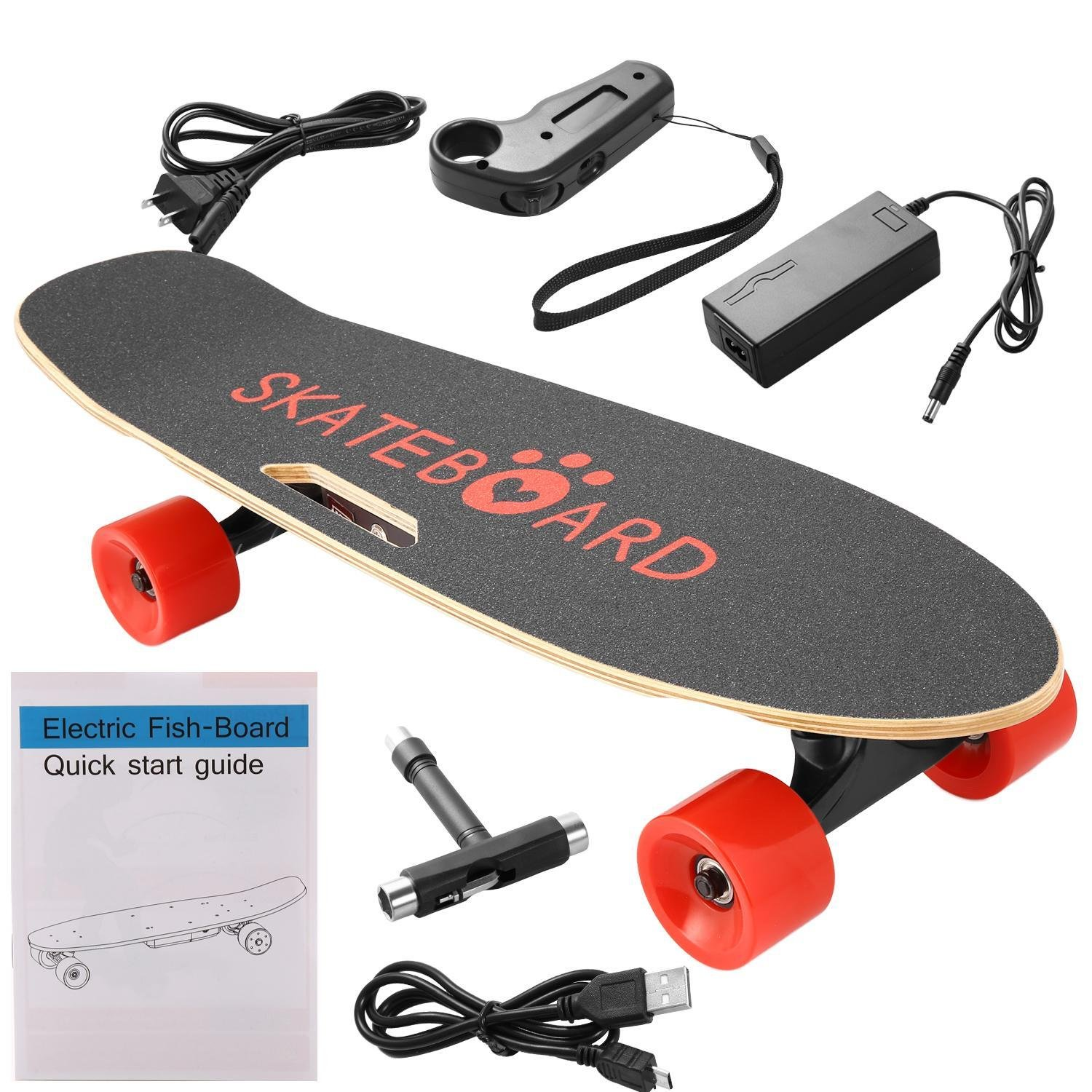 Kaluo Electric Cruiser Skateboard with with Handheld Remote Controller, 350W Motorized Skateboard Longboard, Red PU Wheels (US STOCK) (Red Wheel) by Kaluo
