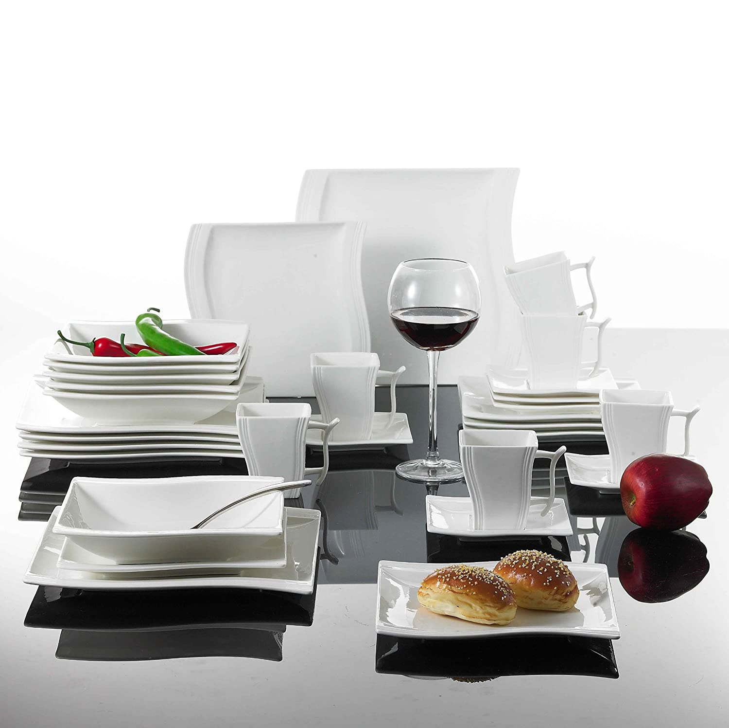 Malacasa Series Flora 30-Piece Wave Shaped Cream White Porcelain Dinner Set with 6-Piece Cups / Saucers / Dessert Plates / Soup Plates / Dinner Plates ...  sc 1 st  Amazon UK & Malacasa Series Flora 30-Piece Wave Shaped Cream White Porcelain ...