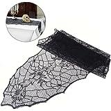 LUOEM Halloween Tischläufer Tischdecke Spider Web Blätter Dekor Creepy Tischdecke Stoff für Halloween Dekorationen (schwarz)