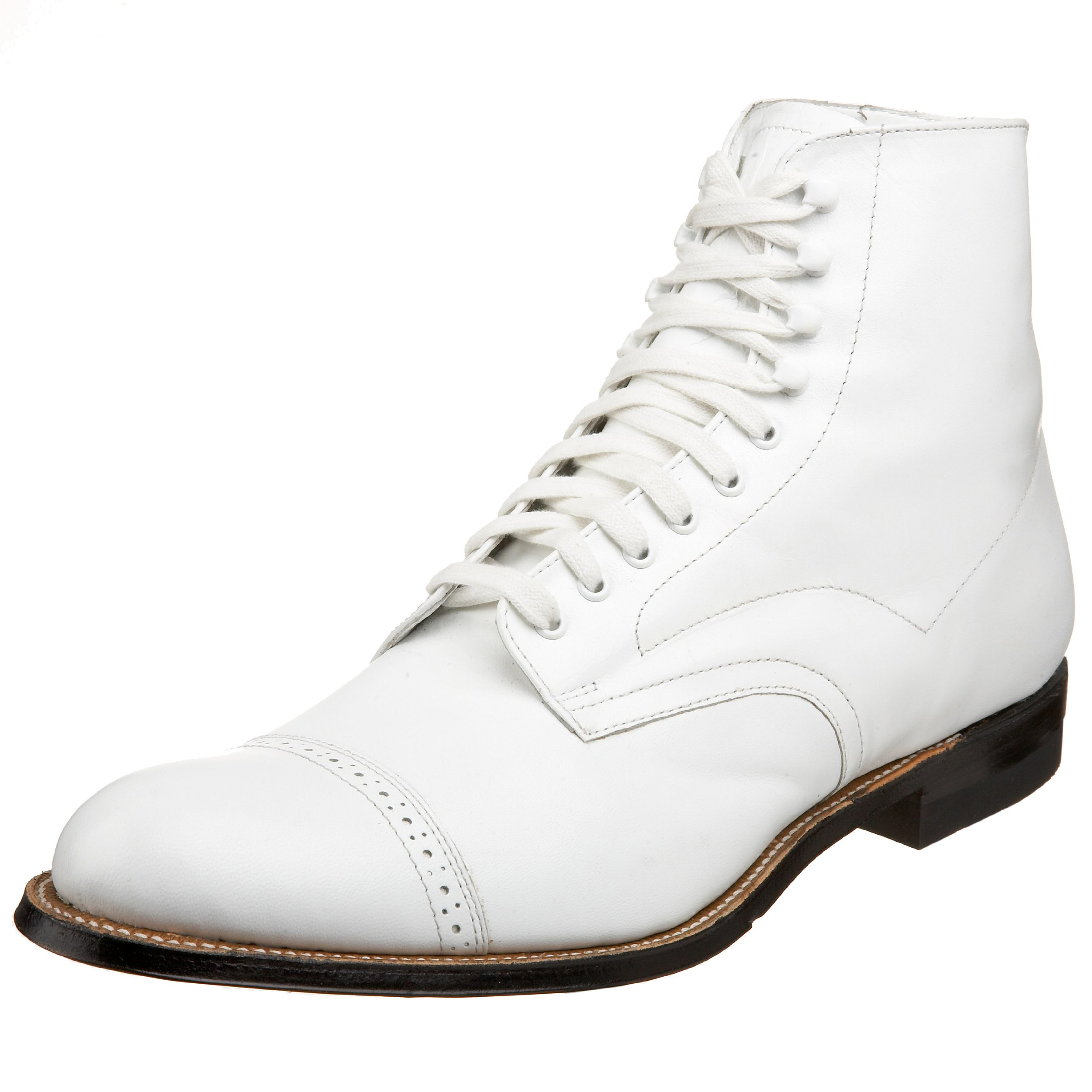 Stacy Adams Men's Madison Cap-Toe Boot,White,9.5 D